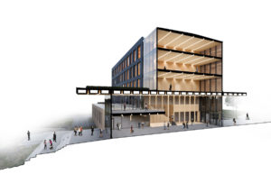 Rendering shows CLT floor and wall panels on the Catalyst Building, the first CLT office building in Washington State.